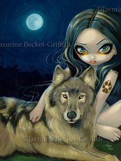 Items similar to Wolf Moon werewolf full moon fairy art print by Jasmine Becket-Griffith on Etsy Gothic Fantasy Art, Gothic Fairy, Fantasy Kunst, Jasmine Becket Griffith, Betty Boop, Moon Fairy, Animal Art Prints, Kobold, Fairy Pictures