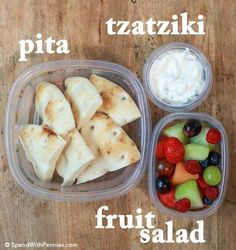 Here are our favorite kid approved, sandwich-free, lunchbox ideas! Pita, tzatziki (store bought or homemade) and fruit salad is a favorite around here!