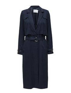 DAY - 2ND Trinity Back vent Concealed closure Inner lining Two side pockets Adjustable cuffs Notched lapel Sailor yoke at back Waist belt Tencel is an environmentally friendly fabric made from wood pulp. Classic Elegant and feminine Modern Coat Jacket Navy