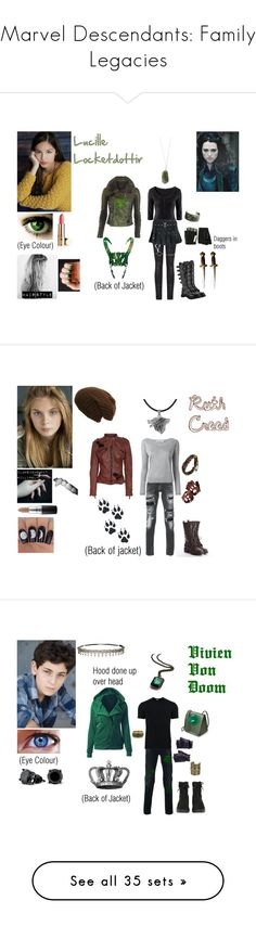 """""""Marvel Descendants: Family Legacies"""" by meganwillard ❤ liked on Polyvore featuring art, beauty products, eyes, makeup, beauty, jewelry, necklaces, blue, geometric necklace and silver chain necklace"""