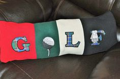 RYLO Golf pillow, cotton knit throw in red green black and white by RYLOwear, $24.00