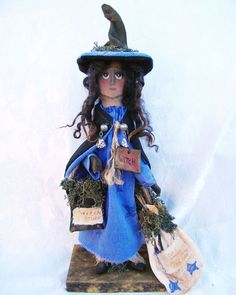 witch doll  by JoAnn Palmer Hootnholllarprims    Sold  but please check my facebook page for other available dolls. https://www.facebook.com/HootnhollarprimsByJoannPalmer