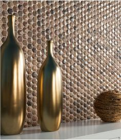 These Wood effect glass mosaics in a honeycomb pattern make a striking feature wall for hotels, cafes, bars, restaurants etc.  For more detail, email us at sales@spectile.co.uk         #wood effect #mosaic #honey #ceramics #tiles #interiors #architecture #featurewall #design #spectile #tilesitswhatwedo #leisure #hotels #restaurant #cafe #bars