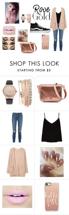 """rose gold"" by mathildepl07 on Polyvore featuring mode, Jessica Carlyle, Alexander Wang, Frame, Raey, MANGO, Fiebiger, Casetify et Vans"