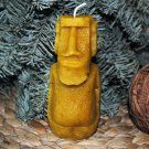Natural beeswax candle in the shape of an easter island statue, that's scary and nice smelling!