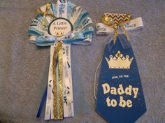 Little Prince Baby shower pin on corsage and Tie for mommy and daddy To Be by TheFlowerExperts on Etsy