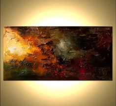 "Big Abstract Painting Original Large Contemporary Modern Palette Knife Painting Heavy Impasto Texture Ready to Hang 72""  by Osnat"