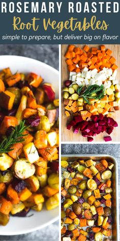 These rosemary roasted root vegetables make a delicious side dish that is perfect for a weeknight dinner, or a holiday meal. Made with carrots, parsnips, beets, potatoes, and sweet potatoes - this recipe is vegan, gluten-free, and paleo! #sweetpeasandsaffron #holidays #vegetables