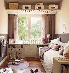dormitorio muy práctico ,me gustan los toques lavanda