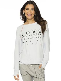 7154969d0b8ad Love The People Around You And Be Happy Oversized Comfy Top