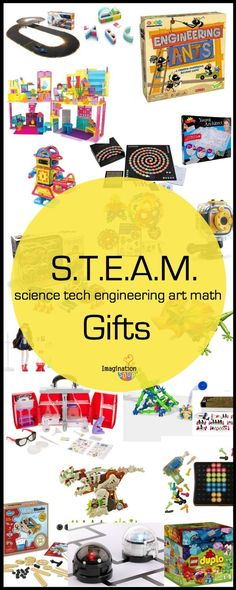 STEAM / STEM Gifts for Kids STEAM education is two or more of these subjects: science tech engineering art math. Here's a list of STEAM (used to be STEM) toys and games for kids for your Holiday Gift Guide 2015 Steam Education, Gifted Education, Science Gifts For Kids, Games For Kids, Activities For Kids, Steam Activities, Kid Science, Baby Games, Science Experiments
