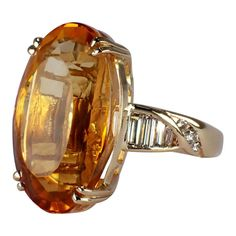 1970s 14k Yellow Gold Citrine and Diamond Ring, Vintage Ring, Citrine Ring, Cocktail Ring