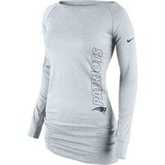 34caddf1f New England Patriots Nike Women s Stadium Epic Crew Long Sleeve Performance  T-Shirt - Gray