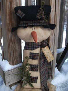 Folk Art PrimiTive WinTer ChrisTmas Wool GruNgy SNOWMAN DOLL Make Do Decoration #NaivePrimitive #MelissaHarmon