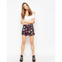 Motel Panther Shorts In Dried Floral Print ($30) ❤ liked on Polyvore featuring shorts, black, zipper shorts, tall shorts, floral high waisted shorts, woven shorts and floral shorts