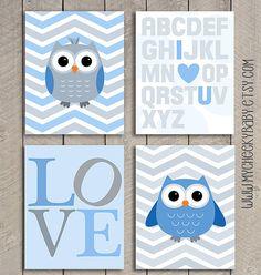 4 PC 8 x 10 chouette SET Nursery imprimer, impression personnalisée, chouette Art, Baby Art, Baby Shower Gift gris gris bleu bébé garçon estampes, chambre à coucher enfant