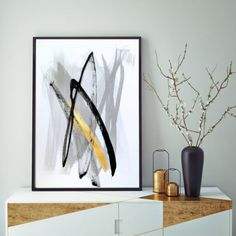 Black and White Art Abstract Art Black and White by LennaArty