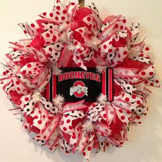 Deco Mesh Wreath with Ohio State University Plate, Wreath with OSU Plate - Collegiate Mesh Wreath with Buckeyes Plate