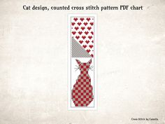 Diy Christmas Cards, Xmas Cards, Cross Stitch Bookmarks, Cross Stitch Patterns, Cat Design, Chart, Etsy, Color, Punto De Cruz