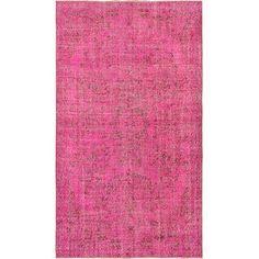 "Hot Pink Vintage Turkish Overdyed Rug - 5'5"" X 9'6 on Chairish.com"