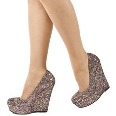 Princess wedge glitter high heels