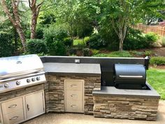 Traeger smoker in this outdoor kitchen by Sunset Outdoor Living, LLC. Dallas, Oregon : Traeger smoker in this outdoor kitchen by Sunset Outdoor Living, LLC. Rustic Kitchen Design, Outdoor Kitchen Design, Kitchen Designs, Outdoor Kitchens, Outdoor Spaces, Kitchen Ideas, Backyard Kitchen, Backyard Patio, Backyard Ideas