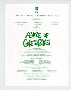1967 brochure cover, Anne of Green Gables - The Musical™ at Confederation Centre of the Arts.