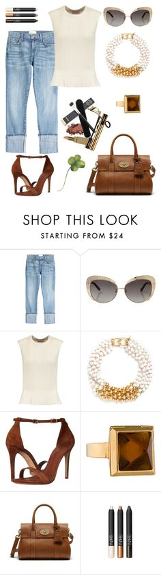 """""""Lucky you."""" by schenonek ❤ liked on Polyvore featuring Current/Elliott, Oscar de la Renta, Tory Burch, Kenneth Jay Lane, Schutz, Alexander McQueen and Mulberry"""