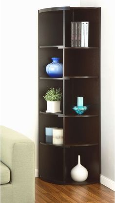 Corner Bookcase Display Stand Modern Expandable Contemporary Space Saving Shelf #FurnitureofAmerica #ContemporaryModern #Bookcase #Shelf #Corner #Furniture