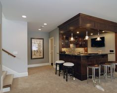 Basement +bar +dark Wood +tan +blue +gray Design, Pictures, Remodel, Decor and Ideas