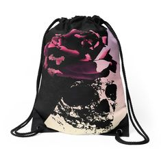 """Lady Skull"" Drawstring Bags by MaksciaMind  #maksciamind Shop  #redbubble #drawstringbag #bags #skull #flowers #black #pink #horror"