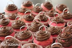 mini pink cupcakes with chocolate icing - Food Mamma Chocolate Icing, Pink Cupcakes, Outdoor Parties, Mini, Party, Desserts, Weddings, Food, Chocolate Frosting