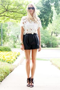 FLORAL CUTWORK WHITE TOP, BLACK LEATHER SHORTS, BLACK SUEDE LACE UP HEELS