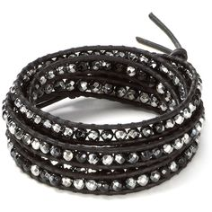 Chan Luu Five Wrap Black and Silver Agate Leather Bracelet ($190) ❤ liked on Polyvore