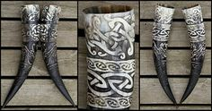 Norse and Viking Leather Art Bone Jewelry and Drinking Horns by Wodenswolf: Recent Custom Works: Lugh's Knot Wedding Horns