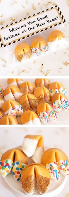 "Glitter Dipped Fortune Cookie Party Favors & Printable ""Wishing You Good Fortune in the New Year"" treat bag toppers - perfect for New Year's Eve parties! Happiness is Homemade day party desserts Glitter Dipped Fortune Cookie Party Favors New Years Eve Dessert, New Years Eve Day, New Years Eve Food, New Years Eve Party Ideas Food, Holiday Treats, Holiday Recipes, Nye Recipes, Party Recipes, Dessert Nouvel An"
