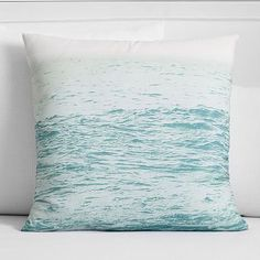 Kelly Slater Morning Tide Euro Pillow Cover // This organic canvas pillow cover depicts the ocean horizon fading into the sky. Exclusively designed with 11-time world surfing champ Kelly Slater, it brings authentic surfer style to your room.