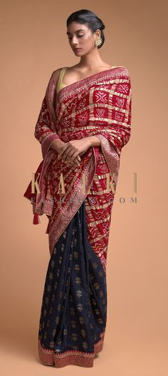 Buy Online from the link below. We ship worldwide (Free Shipping over US$100)  Click Anywhere to Tag Navy Blue And Red Half And Half Saree In Silk With Bandhani Print And Weaved Floral Buttis Online - Kalki Fashion Navy blue and red half and half saree in silk with weaved floral buttis on the pleats.Enhanced with weaved red border with gotta patch embroidery.
