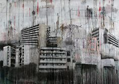 "Saatchi Online Artist: Mathew Tucker; Oil, 2012, Painting ""Urban Sprawl"" #urban #city #painting"