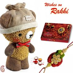 Picture of Lovable Brown Ceramic Teddy with Rakhi Rakhi Day, Hampers Online, Rakhi Gifts, Gift Hampers, Very Lovely, Crochet Hats, Teddy Bear, Ceramics, Toys