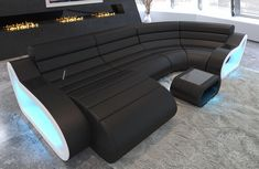 The leather sofa with LED lighting in black is a real eye-catcher for your living room interior. With these modern living ideas from Sofa Dreams, your living room becomes an oasis of wellbeing. Sofa with lighting Dorm Furniture, Cheap Furniture, Discount Furniture, Furniture Design, Furniture Outlet, Furniture Ideas, Furniture Websites, Furniture Movers, Black Furniture