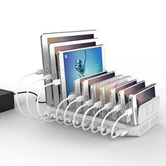 [PowerPort 96W/2.4A Max] UNITEK 10-Port USB Charger Charging Station for Multiple Device with SmartIC Tech, Organizer Stand for Apple iPad iPhone Samsung Galaxy Google Nexus LG HTC  UNITEK 96 Watt 10-Port Family-Sized Desktop USB Fast Charging Station  charges up to 10 USB devices simultaneously with only 1 wall charger outlet. Simply connect all your smartphones, tablets PC, cameras, speakers, headset, music players ect, and quickly charge all your devices at home or office. It is a..