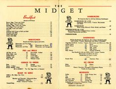 Menu from The Midget diner, Howell, Michigan, 1950's.