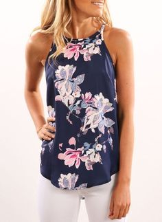 Floral Sexy Cotton Camisole Neckline Sleeveless Blouses