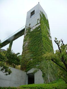 Elevator Tower in Awaji Yumebutai, Awaji, Hyogo, Japan. Work of Tadao Ando