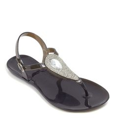 This Black Rhinestone Gem Sandal by Eason Deal Shoes is perfect! #zulilyfinds