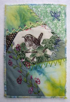 I ❤ crazy quilting & embroidery . . . fabric postcard- Made for Michele Foster as a 'thank you' for organizing the Spring bloom mini quilt swap. CQ work. ~By Ati, Norway