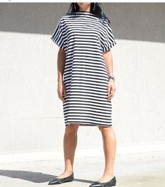 Scandinavian Style Dress for Summer Days, Loose #trendydress #shiftdress #midkneedress #shortsleevesdress #styledress #loosefittingdress #loosetunic #mididress #blacknwhitedress #jerseydress #scandinavianstyle #simpletop #stripedtop