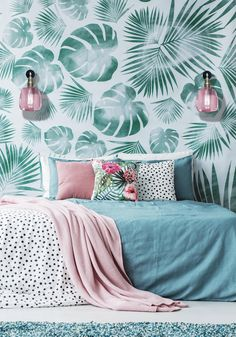 Decorative cushions with plain and floral prints on a turquoise bed by a leaves wallpaper in bedroom interior , Green Leaf Wallpaper, Turquoise Wallpaper, Turquoise Bedding, Leaves Wallpaper, Simple Bedroom Design, Wardrobe Design Bedroom, Bedroom Decor, Bedroom Inspo, Bedroom Wall