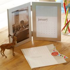 Gift Idea- Photo Frame Calendar~ This sweet and easy-to-make Christmas gift will be appreciated all year long. Fill one side of a hinged dual photo frame with a mini monthly calendar and fill the other with special photo/photos. Include the other months in a plastic sleeve, so the recipient can change the calendar as needed. Great gift idea for family members!